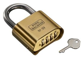 Combination padlock No. 99 Ni 50 SB, with solid brass body-w280px